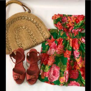 Vintage green floral midi strapless dress